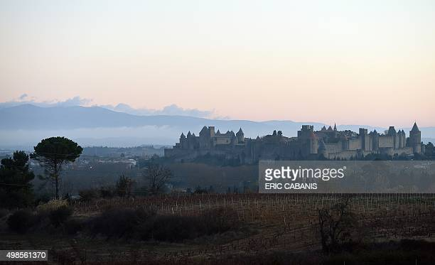 A photo taken on November 24 2015 at sunset shows a view of the medieval city of Carcassonne southern France / AFP / ERIC CABANIS