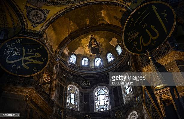 A photo taken on November 25 2014 shows the roof of the Hagia Sophia in Istanbul Pope Francis will visit Turkey on November 2830 eight years after...