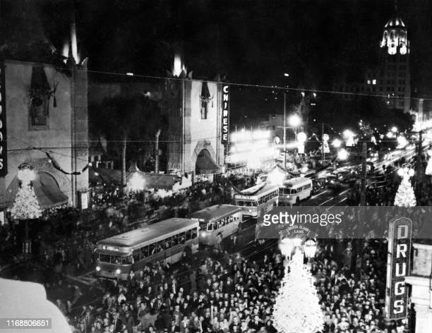 Photo taken on November 26, 1939 shows the Grauman's Chinese Theatre and thousands of people came to see Santa Claus and movie celebrities take part...