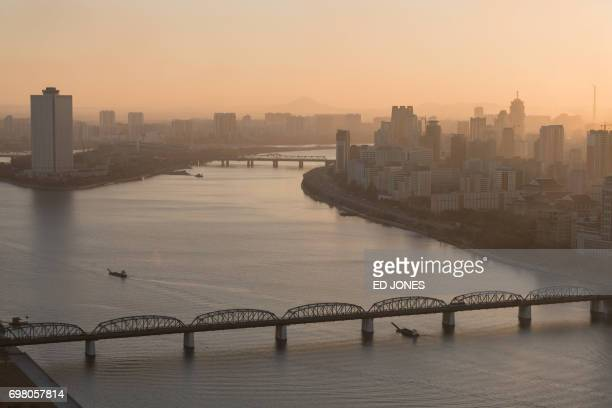 A photo taken on November 28 2016 shows the Yanggakdo International Hotel in Pyongyang where US student Otto Warmbier was alleged to have removed a...