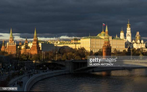 Photo taken on November 4, 2018 shows the Kremlin at sunset in Moscow. - Today Russia celebrates Unity Day, which calls for tolerance between various...