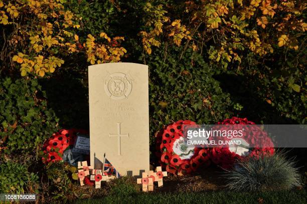A photo taken on November 6 2018 shows the grave of George Ellison of the Royal Irish Lancers the last British soldier to be killed in action durign...