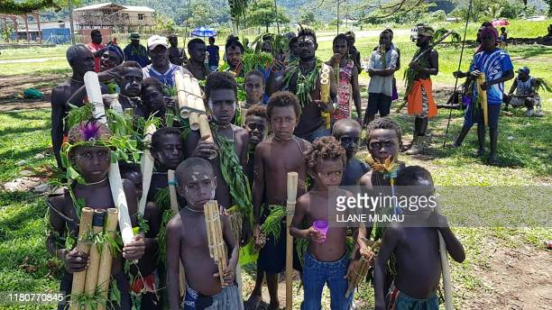 Photo taken on November 6 2019 shows children attending a Bougainville reconciliation ceremony ahead of independence referendum in Arawa Bougainville...