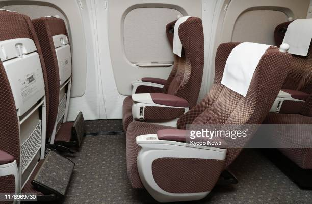 Photo taken on Oct 30 shows firstclass seats of an N700S Tokaido Shinkansen bullet train with 15 percent more legroom than existing shinkansen...