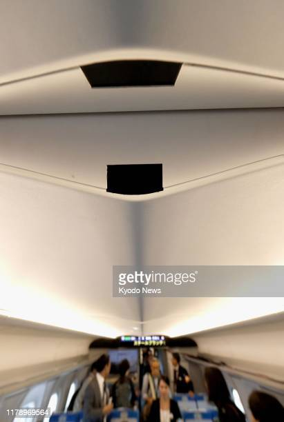 Photo taken on Oct 30 shows two of the 165 security cameras on an N700S Tokaido Shinkansen bullet train up from 105 cameras on existing shinkansen...