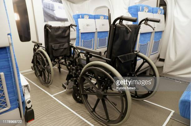 Photo taken on Oct 30 shows wheelchair space on an N700S Tokaido Shinkansen bullet train The train operated by Central Japan Railway Co will commence...