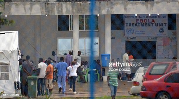 A photo taken on October 11 2014 shows the entrance to the recently opened Ebola Island Clinic in Monrovia Liberia said on October 10 it was banning...