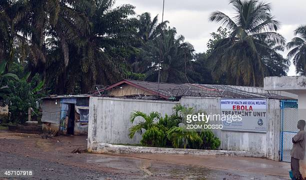 A photo taken on October 11 2014 shows the recently opened Ebola Island Clinic in Monrovia Health workers started a strike on October 6 to obtain a...