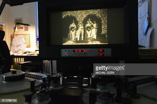 A photo taken on October 13 2016 at the Czech national film archives in Prague shows a frame of the silent twominute film 'Match de prestidigitation'...