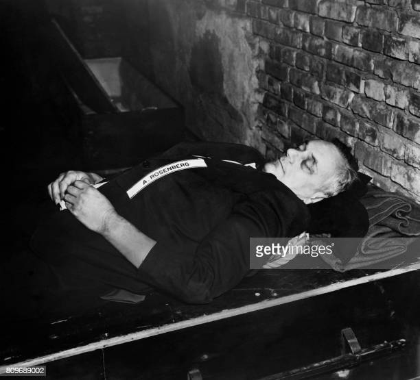 A photo taken on October 1946 shows the body of nazi criminal Alfred Rosenberg executed after his trial for war crimes during the world war II at the...