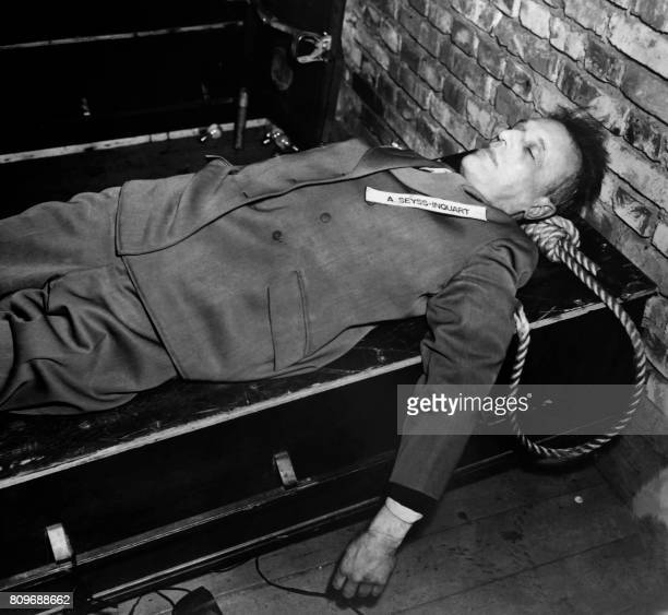 A photo taken on October 1946 shows the body of nazi criminal Arthur SeyssInquart executed after his trial for war crimes during the world war II at...