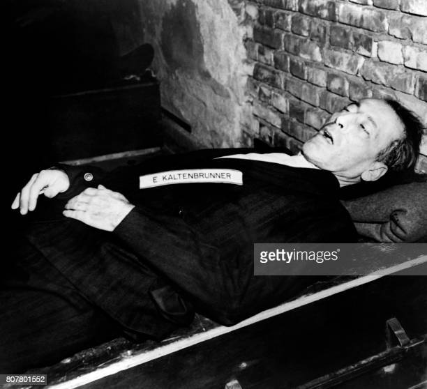 A photo taken on October 1946 shows the body of nazi criminal Ernst Kaltenbrunner executed after his trial for war crimes during the world war II at...