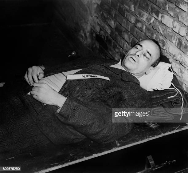 A photo taken on October 1946 shows the body of nazi criminal Hans Frank executed after his trial for war crimes during the world war II at the...