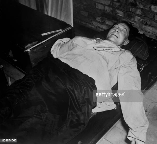 A photo taken on October 1946 shows the body of nazi criminal Hermann Goring executed after his trial for war crimes during the world war II at the...