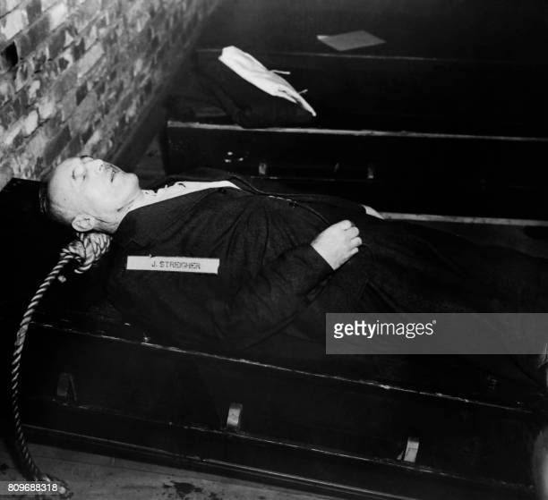 A photo taken on October 1946 shows the body of nazi criminal Julius Streicher executed after his trial for war crimes during the world war II at the...
