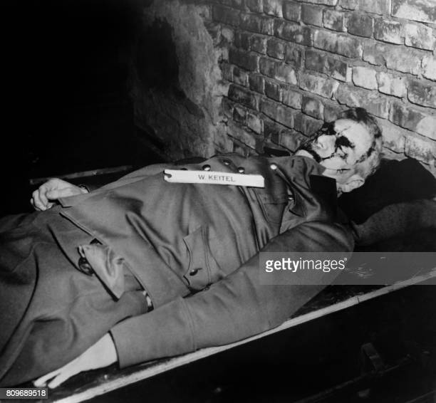 A photo taken on October 1946 shows the body of nazi criminal Wilhelm Keitel executed after his trial for war crimes during the world war II at the...
