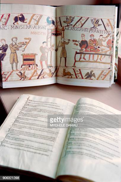 Photo taken on October 2 1990 in Bayeux shows a book written by Sylvette Lemagnen curator at the Normandy museum representing a scene of the Bayeux...