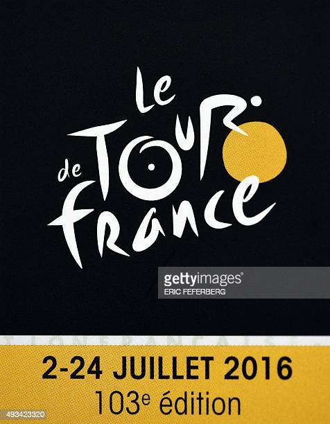 A photo taken on October 20 2015 shows the official logo of the 2016 Tour de France cycling race during the presentation of the official route of the...