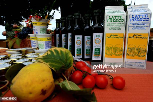 A photo taken on October 21 2016 shows produce yogurt milk and olive oil from the organic farm at Pontiff's private apartments now open to tourists...
