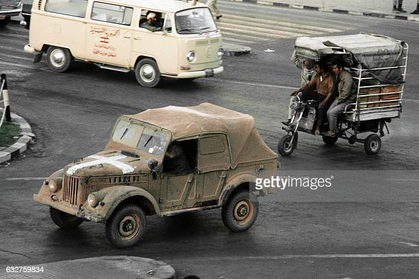 Photo taken on October 22 1973 shows a military vehicle riding in a street of Damascus during the ceasefire called by The United Nations Security...