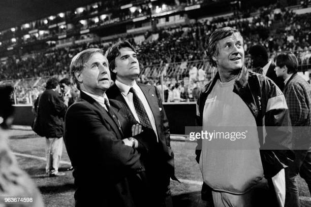 Photo taken on October 22 1987 shows Director of the Olympique de Marseille football club Michel Hidalgo French president of the Olympique de...