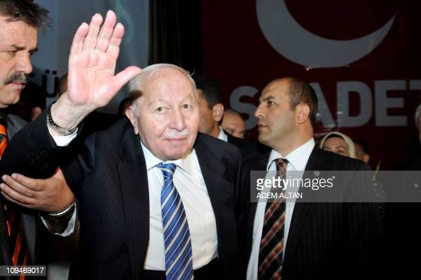 Photo taken on October 27 2010 shows Necmettin Erbakan a former Prime Minister who led Turkey's first Islamist government between 1996 and 1997...