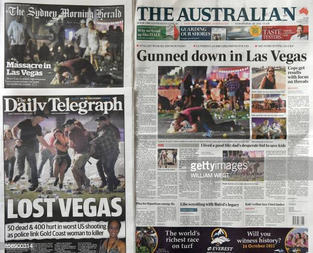 A photo taken on October 3 shows the front pages of Australian newspapers in Sydney headlining the news of the massacre in Las Vegas At least 59...