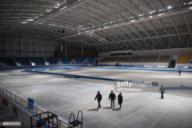 A photo taken on October 30 2017 shows a general view of the Gangneung Oval speed skating venue of the Pyeongchang 2018 Winter Olympic games in...