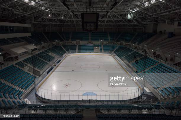 A photo taken on October 30 2017 shows a general view of the Gangneung Hockey Centre ice hockey venue of the Pyeongchang 2018 Winter Olympic games in...