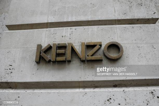 Photo taken on October 4, 2020 shows the logo of the Paris-based fashion house Kenzo in Paris on October 4, 2020 on the day Japanese fashion designer...