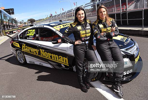 A photo taken on October 5 2016 shows Swiss driving ace Simona de Silvestro and codriver Australian Renee Gracie with their race car as they prepare...