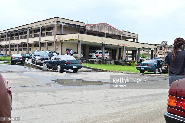 A photo taken on October 9 2015 in Calabar shows the emergency entrance of the Univeristy of Calabar Teaching Hospital where ten people were...