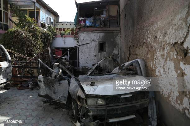"""Photo taken on Sept. 2, 2021 shows a damaged vehicle at the site of the U.S. Airstrike in Kabul, capital of Afghanistan. TO GO WITH: """"Feature:..."""