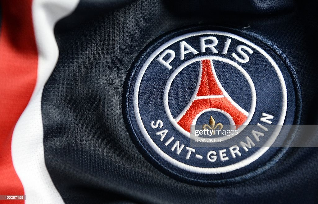 A photo taken on September 11, 2014 in Paris, shows a partial view of the new jersey of the Paris Saint Germain (PSG) football team.