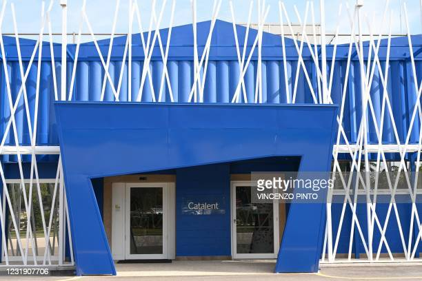 Photo taken on September 11, 2020 shows the entrance to the Italian biologics manufacturing facility of multinational corporation Catalent in Anagni,...