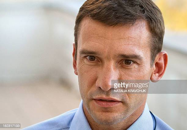 A photo taken on September 15 2012 shows Ukraine's former star striker and a leader of the probusiness party called Ukraine Forward Andriy Shevchenko...