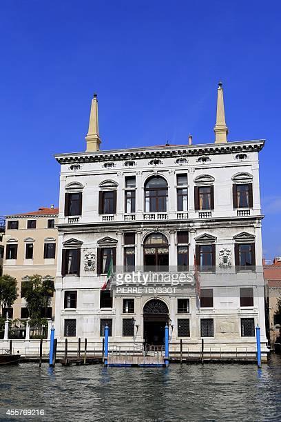 A photo taken on September 16 shows the facade of Venice's Aman Canal  Grande hotel US