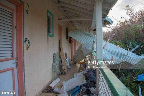 A photo taken on September 17 2017 shows debris at the Alizea residence in Mont Vernon on the French Caribbean island of Saint Martin after the...