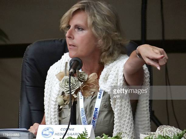 A photo taken on September 2 2013 shows European Union Climate Action Commissioner Connie Hedegaard in the Marshall Island's capital of Majuro for...