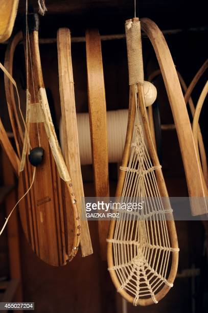 A photo taken on September 3 2014 shows palas used to play the Basque pelota game at the JeanLouis Gonzalez' workshop in Anglet southern France The...