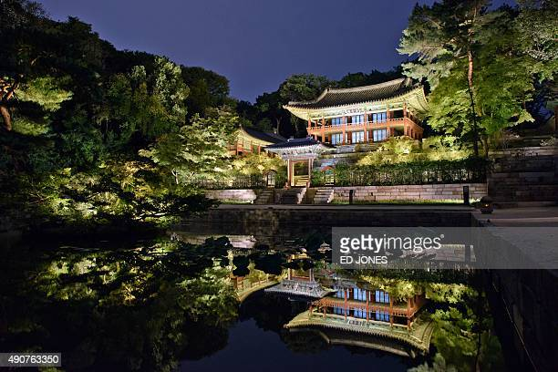 A photo taken on September 30 2015 shows Changdeokgung Palace during a 'moonlight tour' in Seoul The 15th century Changdeokgung Palace is one of five...