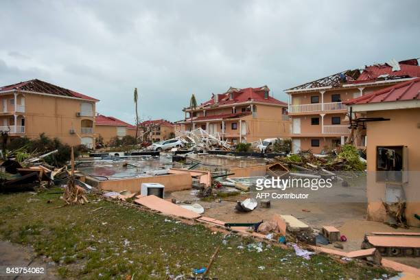 A photo taken on September 6 2017 shows damage outside 'Le flamboyant' hotel and resort in Marigot on the Bay of Nettle on the island of SaintMartin...