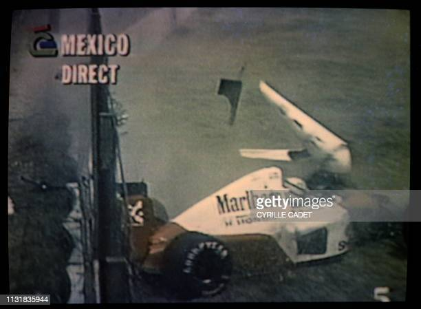 Photo taken on TV La Cinq shows Brazilian Ayrton Senna crashing his McLaren during the practice session of the Mexican Grand Prix in Mexico on March...