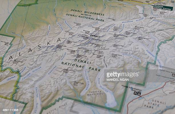 Photo taken onboard Air Force One enroute Alaska of a National Parks Service map shows the newly renamed 'Denali' which was formerly known as Mount...