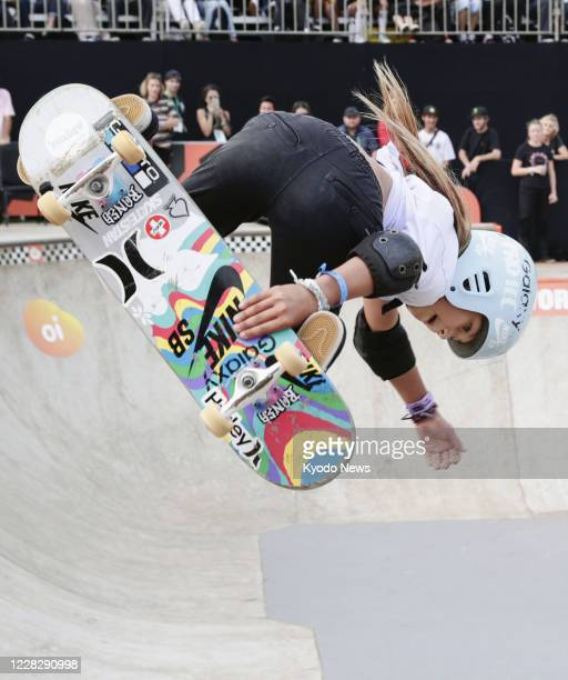 Photo taken Sept. 14 shows Sky Brown of Britain en route to winning bronze in the women's event at the world park skateboarding championships in Sao...