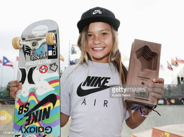 Photo taken Sept. 14 shows Sky Brown of Britain posing for a photo after winning bronze in the women's event at the world park skateboarding...