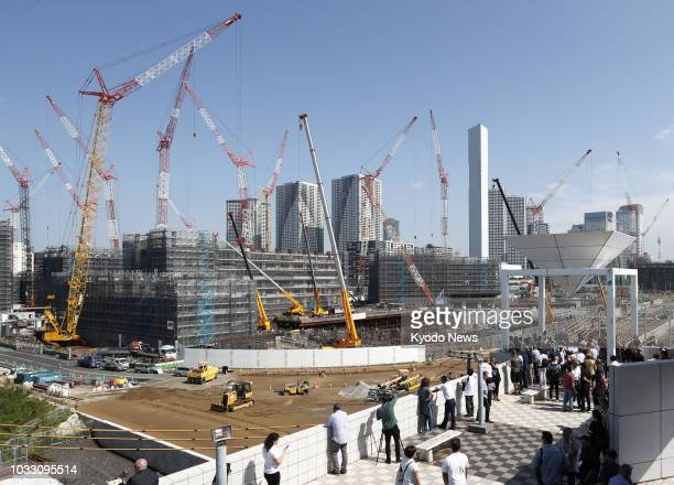 Photo taken Sept 5 shows the athletes' village for the 2020 Summer Olympics and Paralympics under construction in Tokyo ==Kyodo