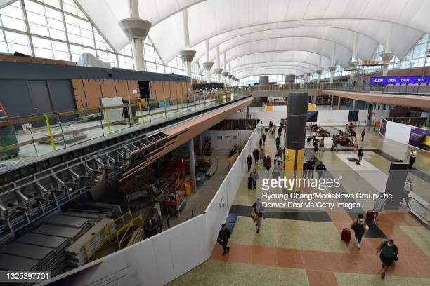Photo taken the construction site of Great Hall of Denver International Airport in Denver, Colorado on Tuesday, June 22, 2021. The terminal...