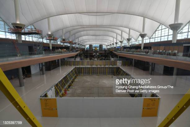 Photo taken uncovered north side of the Great Hall Project at Denver International Airport in Denver, Colorado on Tuesday, June 22, 2021. The...