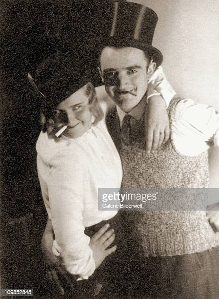 Photo titled 'Carnival with Ege', 1935 in Eva Braun's album, of her and an unidentified friend at a house party in Munich, Germany. She enjoyed these...